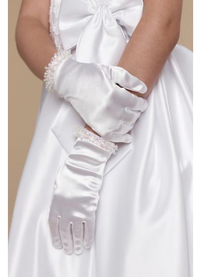 Girls Crystal-Trimmed Satin Wrist Gloves - Trimmed in crystals, these wrist-length satin gloves add
