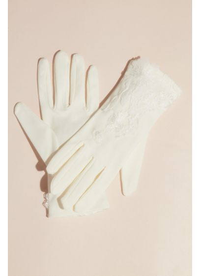 Lace Appliqued Wrist-Length Gloves - Topped with a lovely lace detail and sequins,