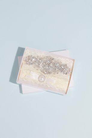 Crystal Medallion Lace Garter