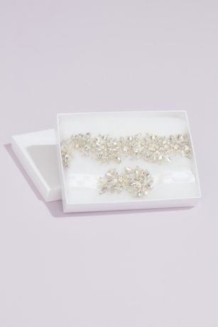 Glimmering Crystal Flower Garter Set