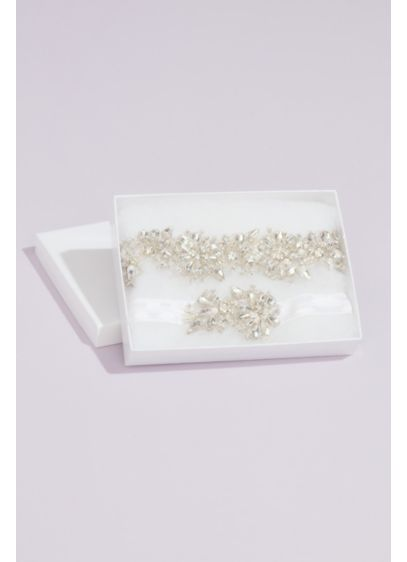 Glimmering Crystal Flower Garter Set - One to keep and one to toss, this
