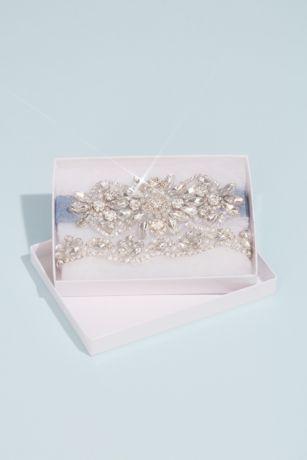 Pearl and Crystal Medallion Garter Set