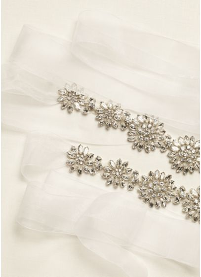 Floral Crystal Beaded Long Organza Sash - Wedding Accessories