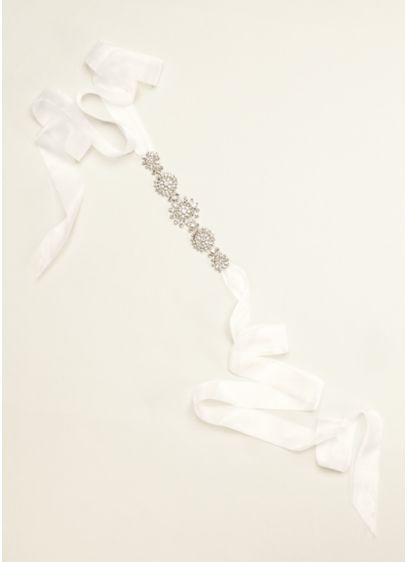 Heavily Beaded Organza Ribbon Sash - Wedding Accessories