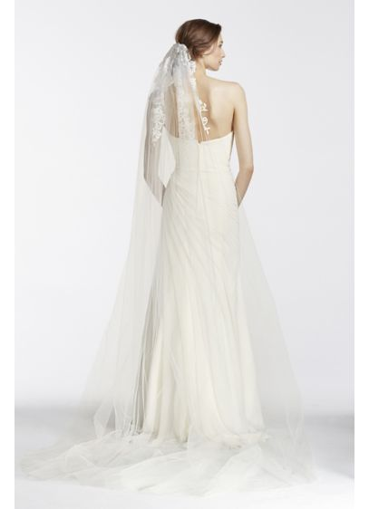 David's Bridal White (One Tier Floral Embroidered Veil)