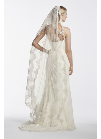 Single Tier Mid Length Scalloped Edge Veil - Wedding Accessories