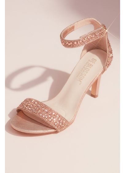 Metallic Tonal Crystal Velcro Strap Heeled Sandals - Accented with tonal crystals in varied sizes, this
