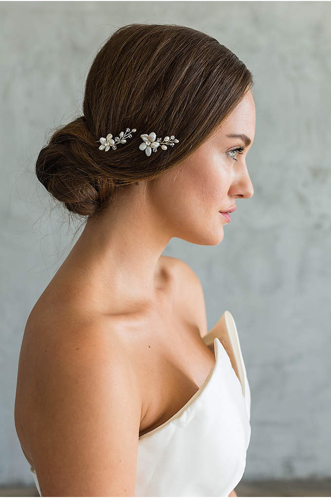 Freshwater Pearl Flower Hair Pin - This lustrous freshwater pearl hair pin is a