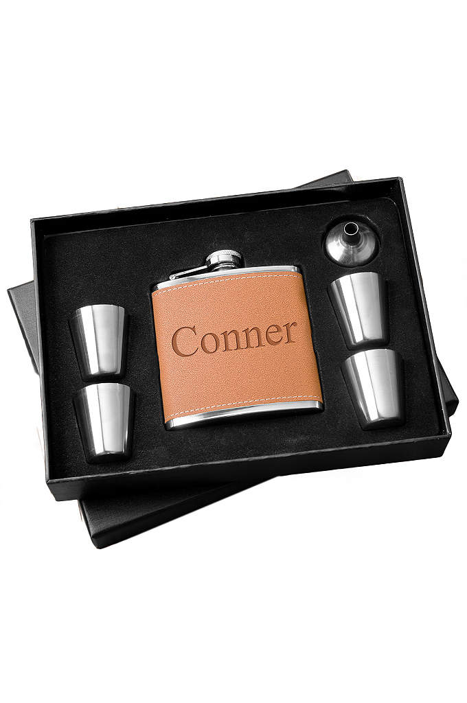 Personalized Hide Flask and Shot Glass Gift Set - Our personalized Hide Stitch Flask and Shot Glass