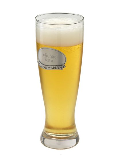 Personalized Grand Pilsner with Pewter Medallion - This traditionally styled grand pilsner beer glass is