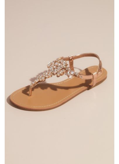 Jeweled T Strap Sandal - Adorned with an elegant pattern of crystals, these