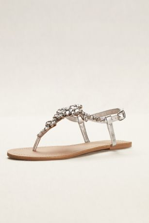 David's Bridal Grey Flat Sandals (Jeweled T Strap Sandal)