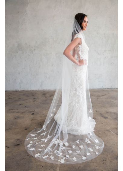 Scattered Floral Lace SilkTulle Chapel Veil - Wedding Accessories