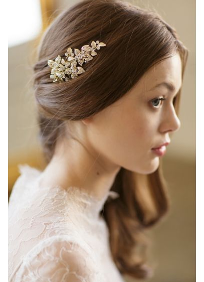 Hand-Wired Crystal Blossom Barrette - A delicate spray of sparkling Swarovski crystal blossoms