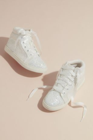 Blossom Ivory Sneakers and Casual (Glitter High Top Flower Girl Laced Sneaker)