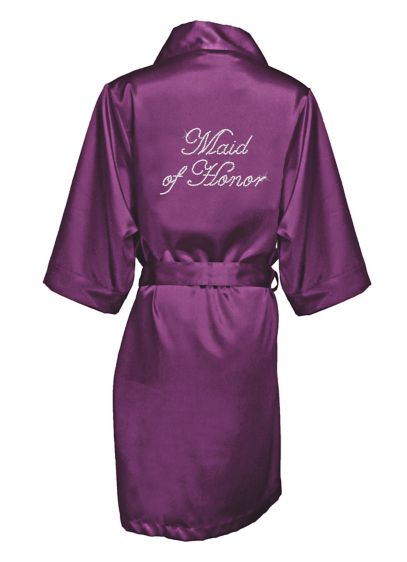 Rhinestone Maid of Honor Satin Robe - Wedding Gifts & Decorations