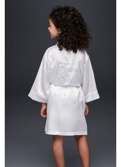 Flower Girl Satin Rhinestone Robe - Wedding Gifts & Decorations