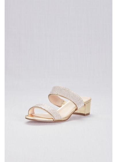 Touch of Nina Yellow (Metallic Heeled Sandals with Crystal Straps)