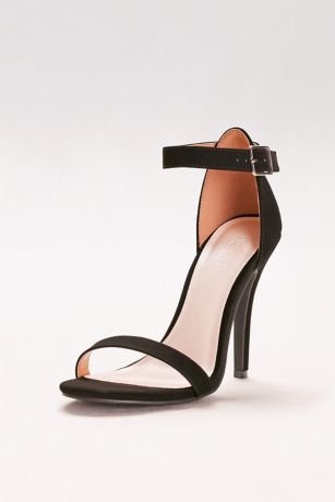David's Bridal Black;Grey;Multi;White;Yellow Heeled Sandals (Simple Ankle Strap Sandals)