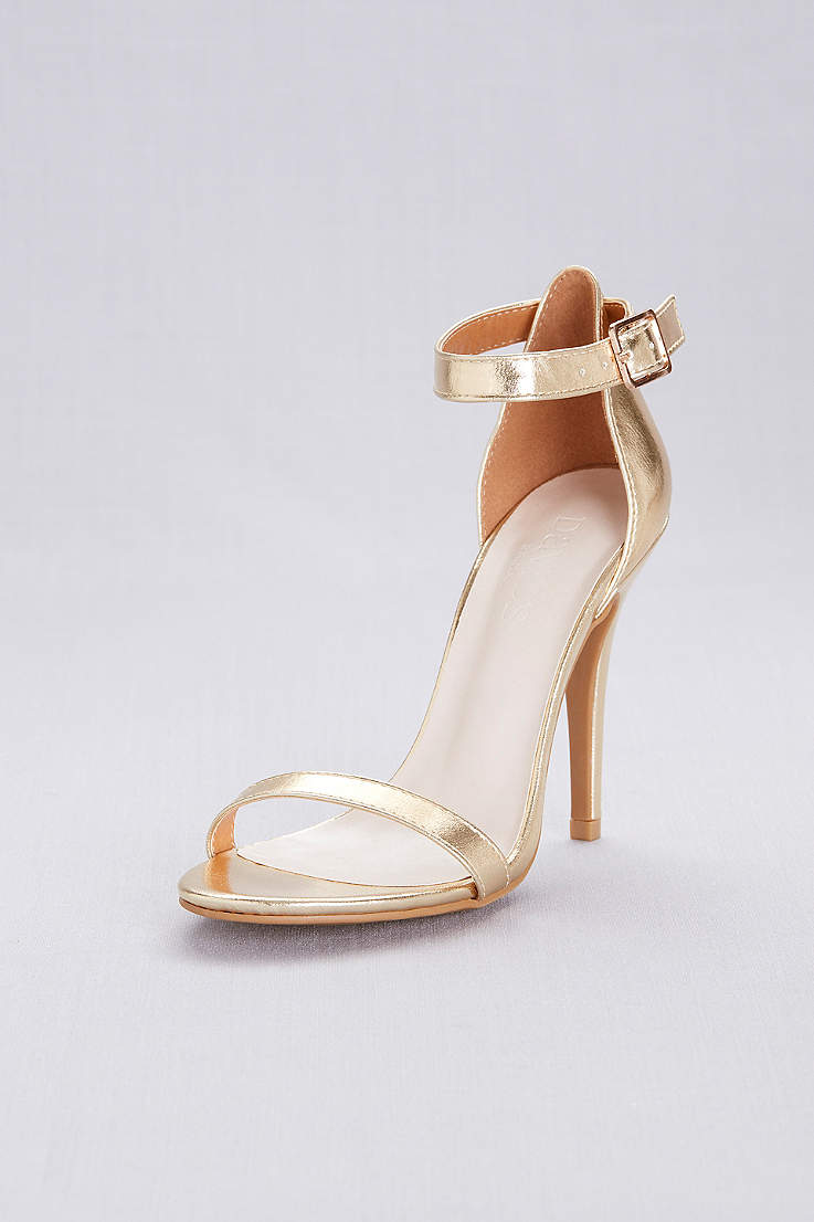 David s Bridal Black Grey White Yellow Heeled Sandals (Simple Ankle Strap  Sandals 95c240ff2c