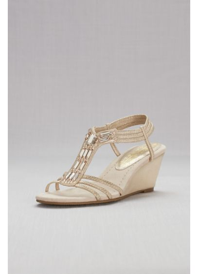 New York Transit Beige (Metallic Wedge Sandals with Jeweled T-Straps)