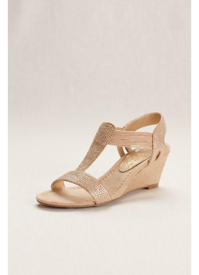New York Transit Ivory (Glitter Wedge Sandal with Studded Elastic Straps)