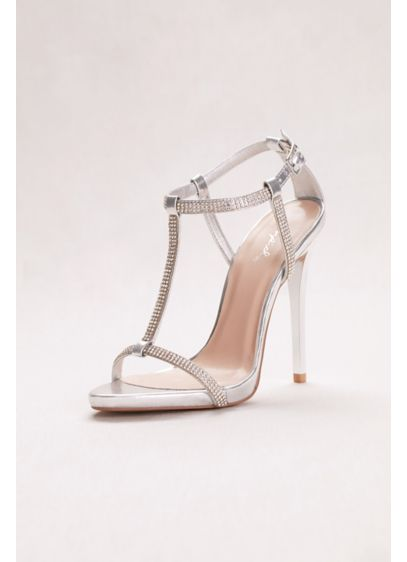 Qupid Grey (T-Strap High Heel Crystal Sandals)