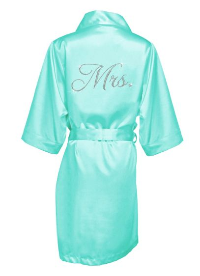 Glam Script Rhinestone Mrs. Satin Robe - Wedding Gifts & Decorations