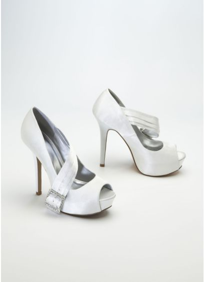 Ivory (High Heel Peep Toe with Embellished Buckle)