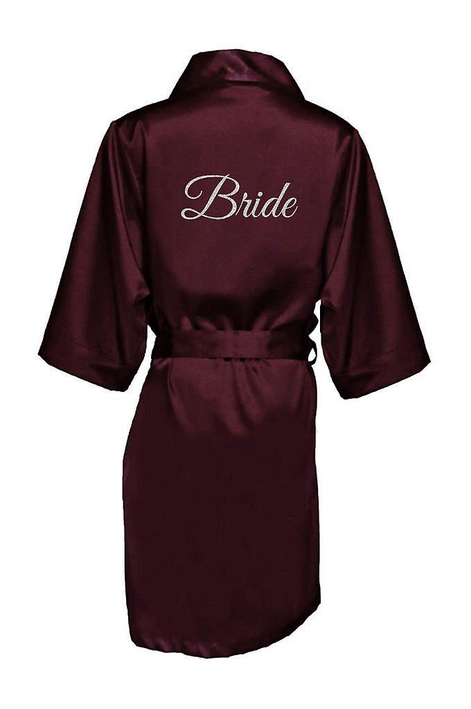 Glitter Print Bride Satin Robe - Celebrate your status as the bride in luxury