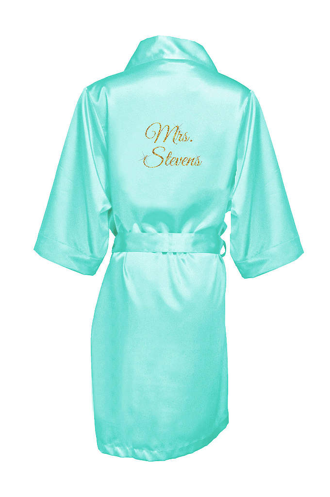 Personalized Glitter Print Mrs. Satin Robe - Wrap the new Mrs. in luxury in this