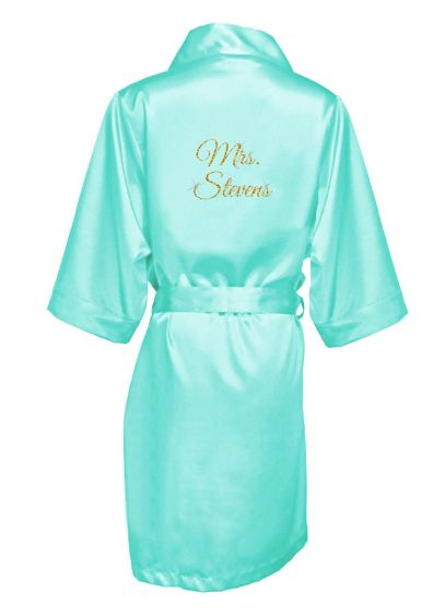 Personalized Glitter Print Mrs. Satin Robe - Wedding Gifts & Decorations