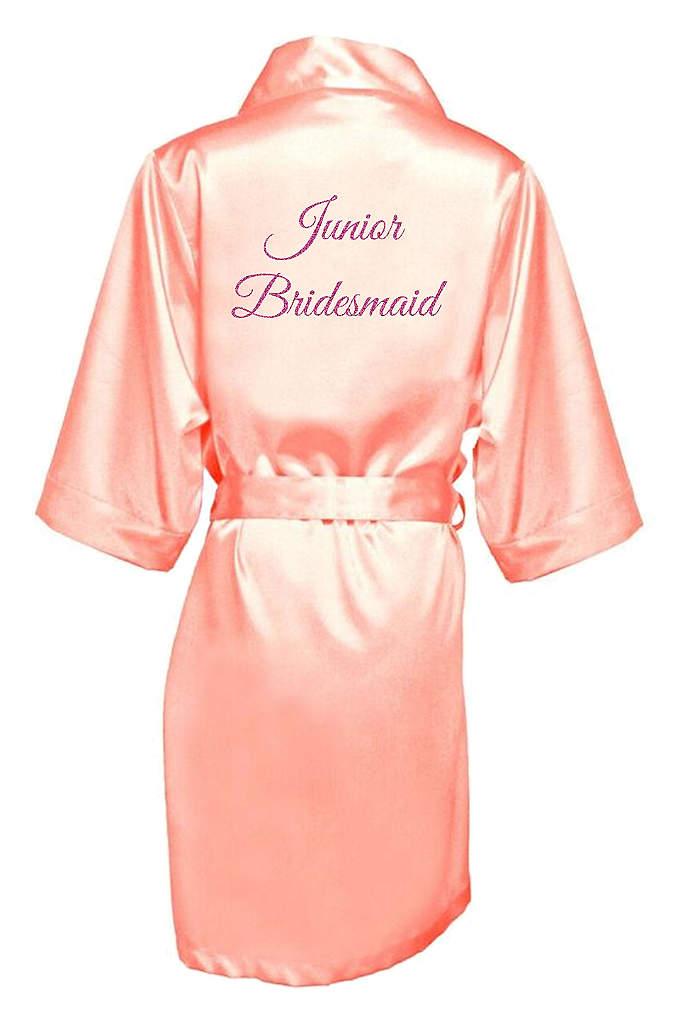 Glitter Print Junior Bridesmaid Satin Robe - Wrap your Junior Bridesmaid in luxury with this