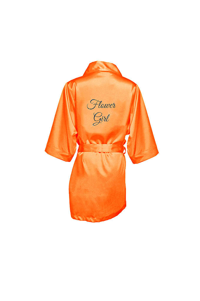 Glitter Print Flower Girl Satin Robe - This adorable satin flower girl robe will make