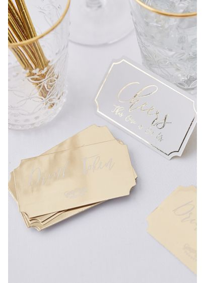 On Us Gold-Foil Drink Tokens - Wedding Gifts & Decorations