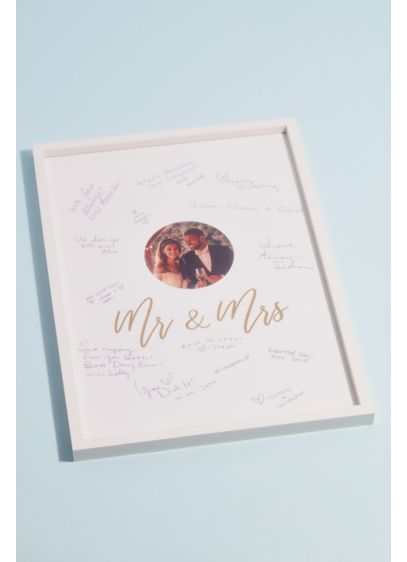 White (Framed Mr and Mrs Wedding Guest Book Alternative)