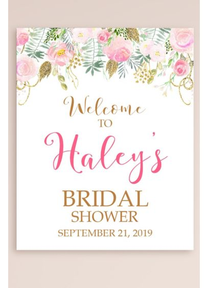Personalized Floral Bridal Shower Welcome Sign - Wedding Gifts & Decorations