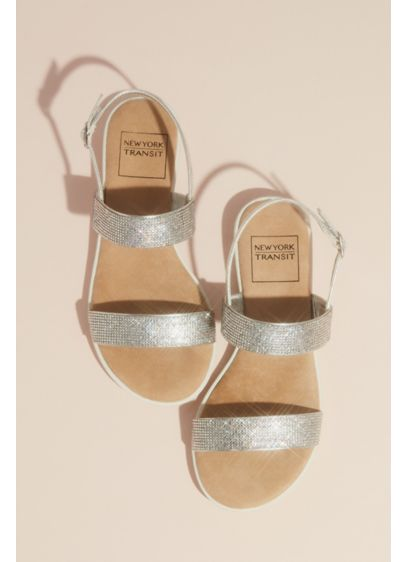 Double Strap Pave Crystal Sandals with Instep - Ready to shine? You'll be all smiles and