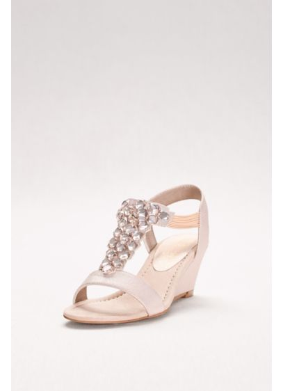 New York Transit Pink (Jeweled T-Strap Wedges with Gems)
