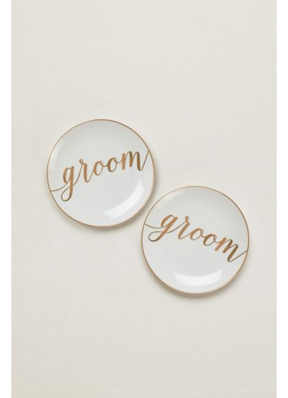 Groom and Groom Dessert Plates Set of 2 - Wedding Gifts & Decorations