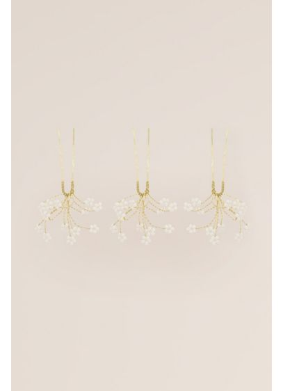 Tiny Crystal Daisy Hand-Wired Hairpin Set - Wedding Accessories