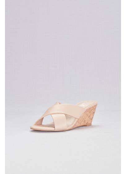 Cross-Strap Slip-On Cork Wedge Sandals - Whether you're walking down the aisle or strolling