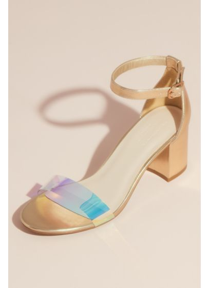 David's Bridal Yellow (Metallic Block Heel Sandals with Holographic Strap)