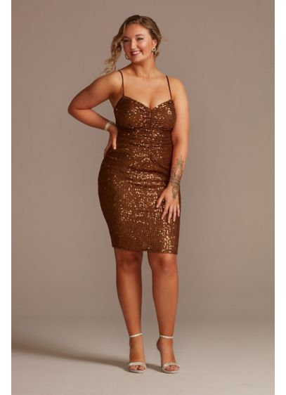 Knee-Length Sequin Sheath Dress with Back Slit - A modern take on Old Hollywood, this mini