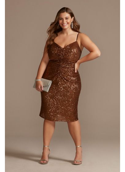 Knee-Length Plus Size Sequin Dress with Back Slit - A modern take on Old Hollywood, this plus