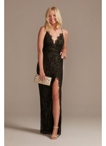 Allover Lace Sheath Gown with Plunging Neckline - This lace sheath gown is designed to be