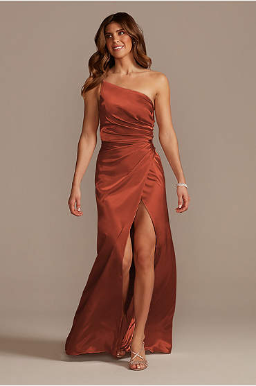 Charmeuse Draped One-Shoulder Bridesmaid Dress