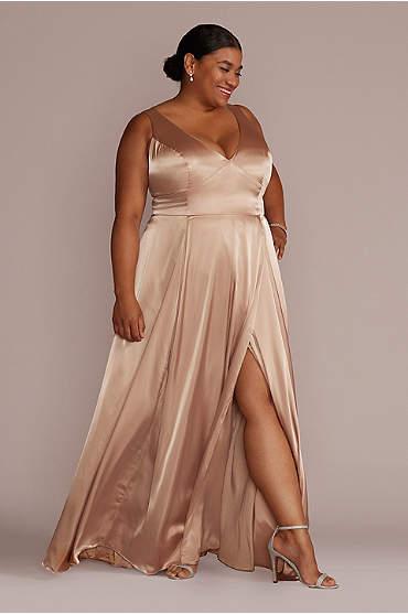 Charmeuse Tank V-Neck Bridesmaid Dress with Slit