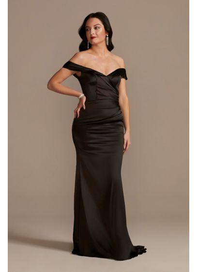 Satin Off-the-Shoulder Mermaid Bridesmaid Dress - This stretch-satin mermaid bridesmaid dress is worthy of