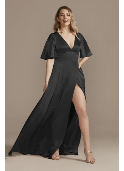 Charmeuse Flutter-Sleeve A-Line Bridesmaid Dress - High-shine, satin-like charmeuse fabric makes this flutter-sleeve bridesmaid